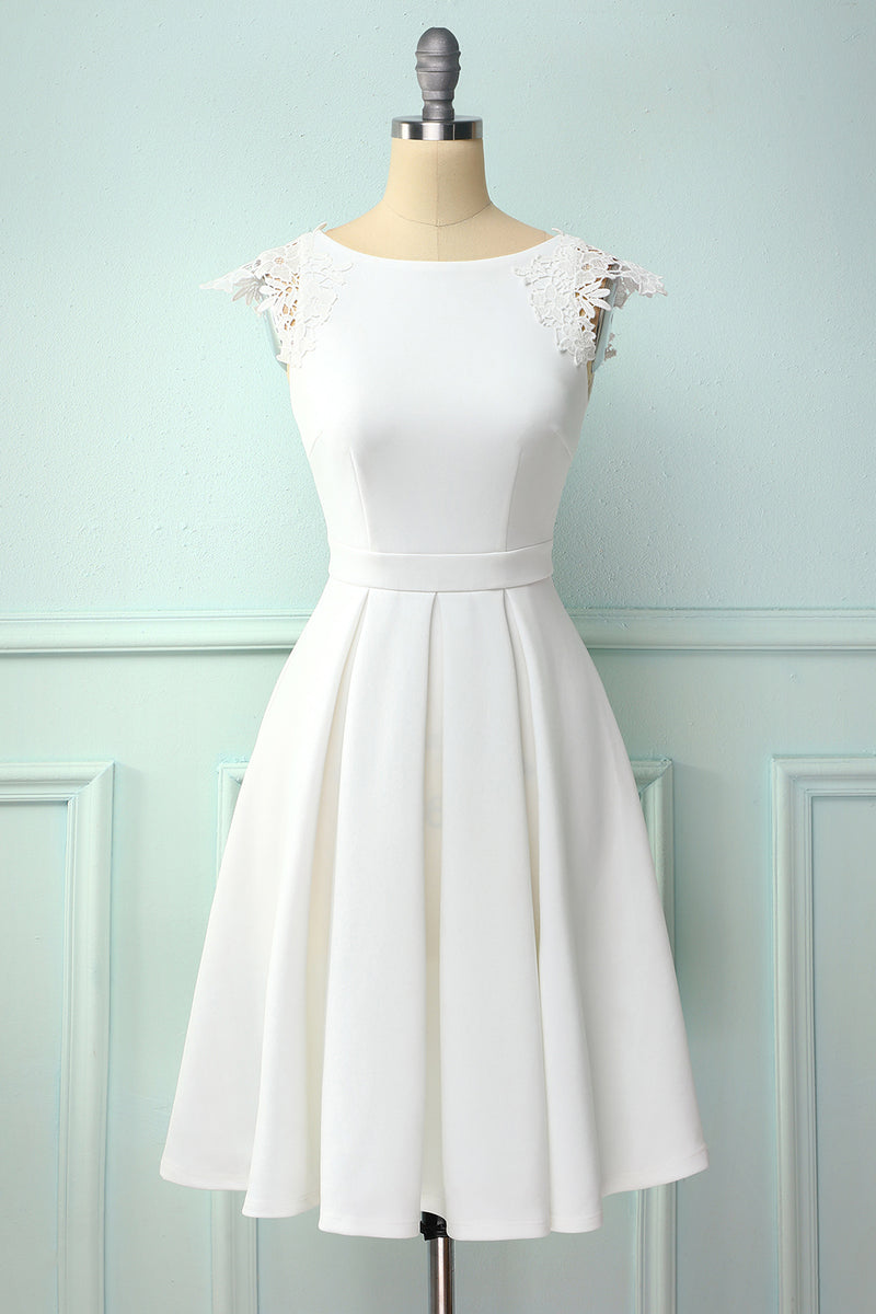 Load image into Gallery viewer, White Vintage Dress with Lace