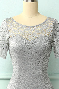 Grey Bodycon Lace Dress