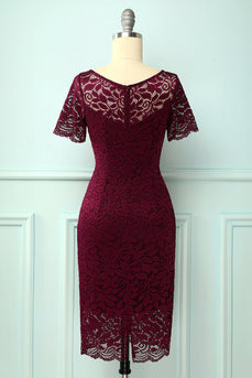 Burgundy Bodycon Formal Dress