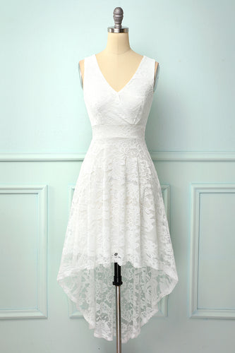 High Low White Lace Party Dress