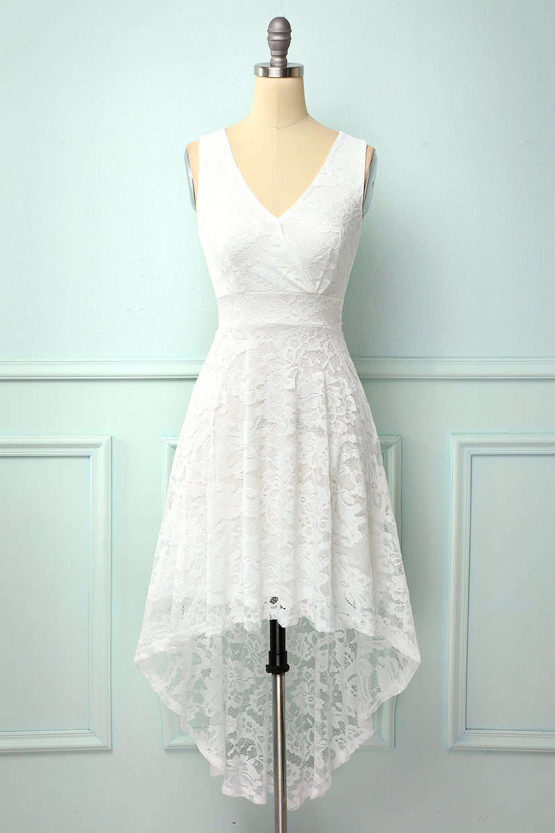 Load image into Gallery viewer, High Low White Lace Party Dress