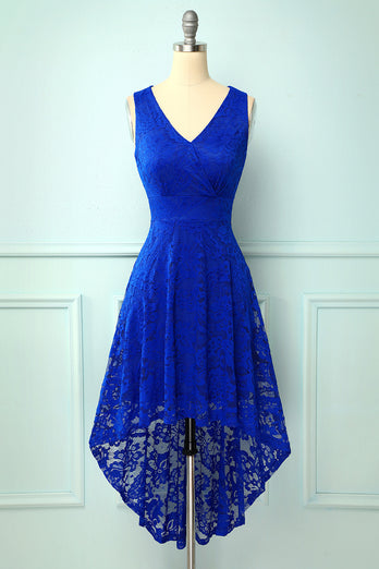 High Low Royal Blue Women Lace Dress