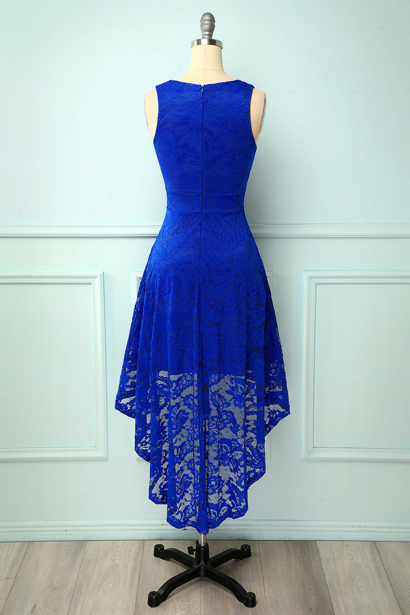 Load image into Gallery viewer, High Low Royal Blue Women Lace Dress