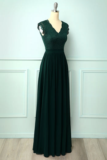 V-neck Long Bridesmaid Dress