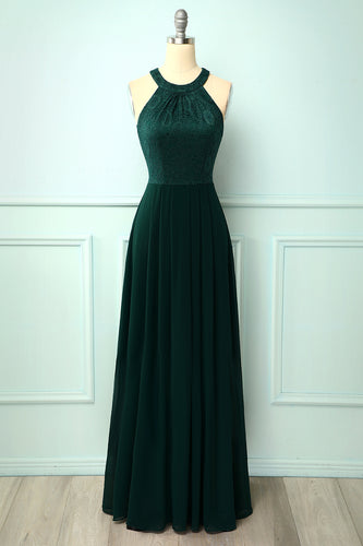 A Line Green Chiffon Long Prom Dress