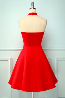 Halter Red Sleeveless Dress
