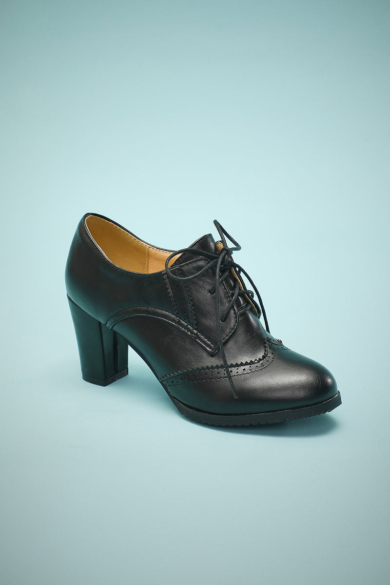 Load image into Gallery viewer, Black Leather Chunky Heels