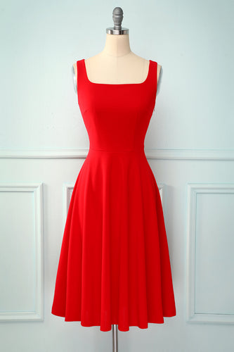 Red Square Neck Dress
