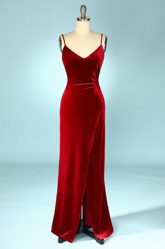 Burgundy Velvet Evening Party Dress