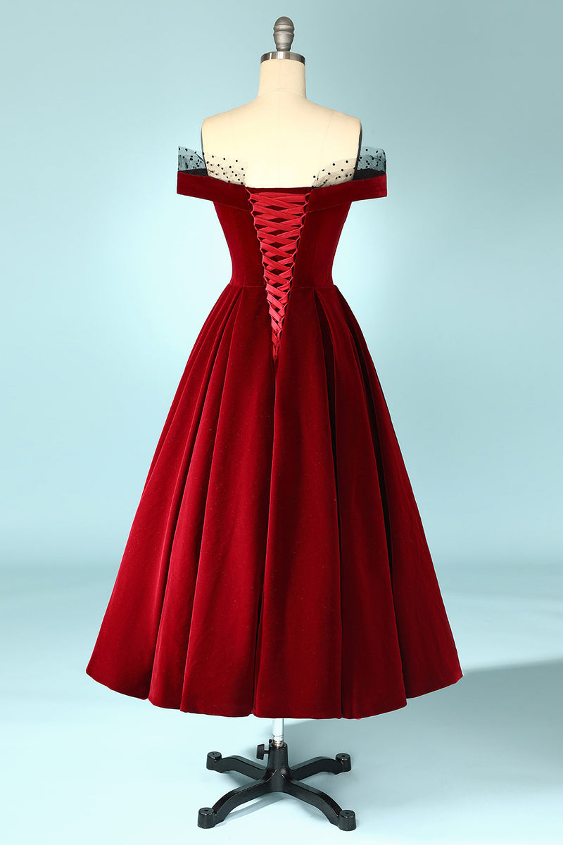 Load image into Gallery viewer, Burgundy Off the Shoulder Velvet Prom Dress