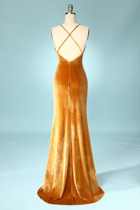 Golden Velvet Evening Party Dress