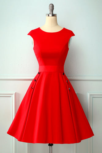 Red Button 1950s Swing Dress