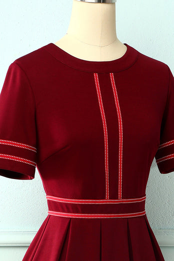 Burgundy Vintage Short Sleeves Dress