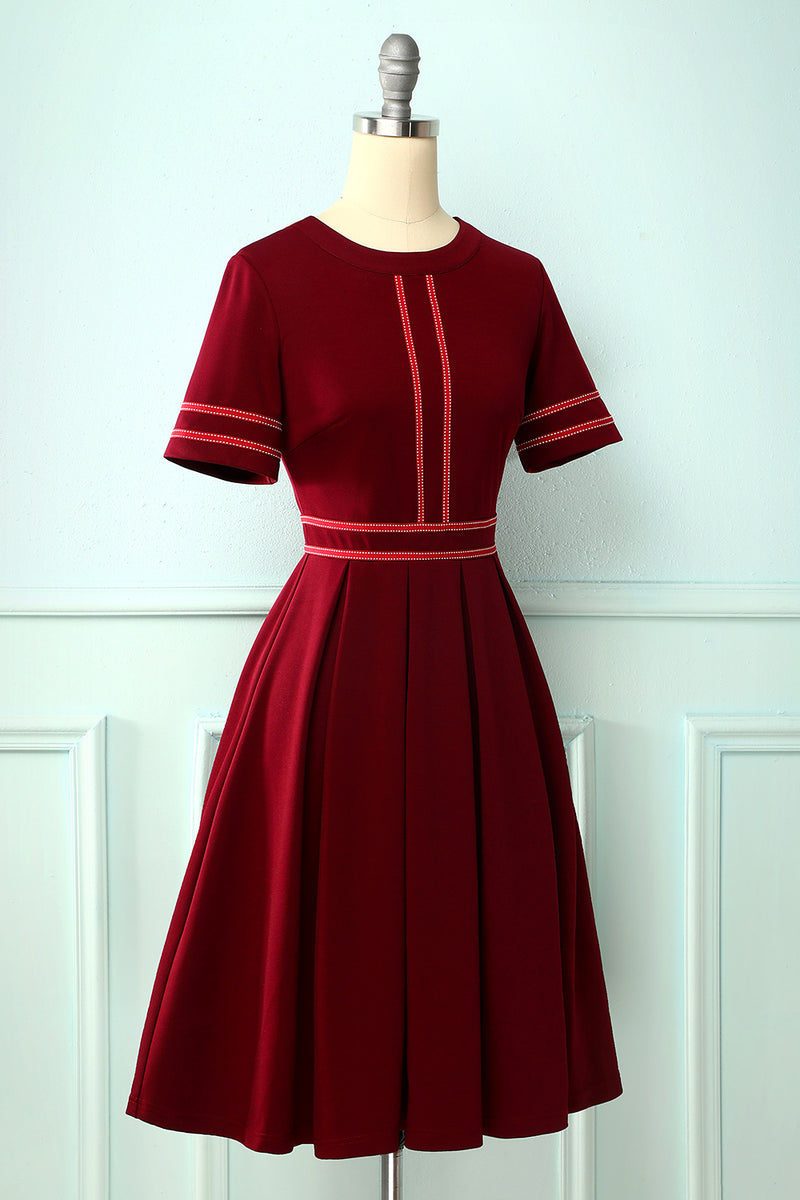 Load image into Gallery viewer, Burgundy Vintage Short Sleeves Dress