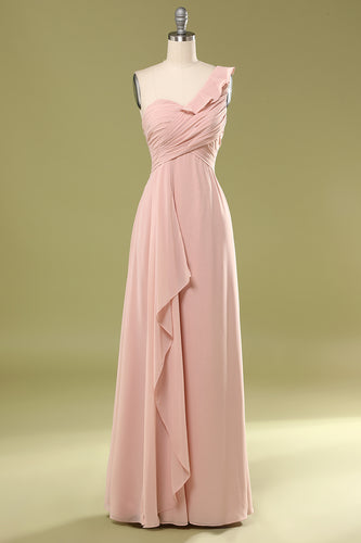 Pink Falbala Bridesmiad Dress with Ruffle