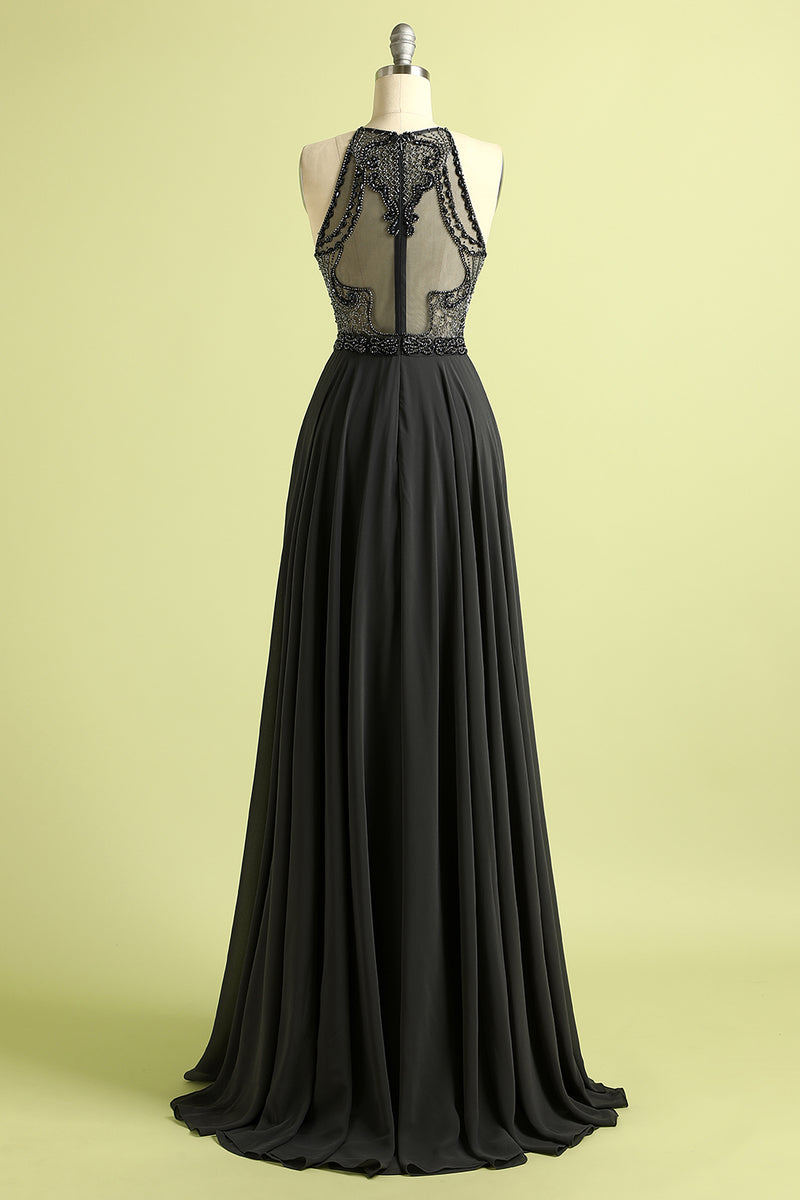 Load image into Gallery viewer, Black Beaded Illusion Back Long Prom Dress