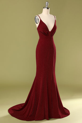 Burgundy V-neck Evening Dress
