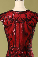 Load image into Gallery viewer, 1920s Burgundy Sequins Flapper Dress