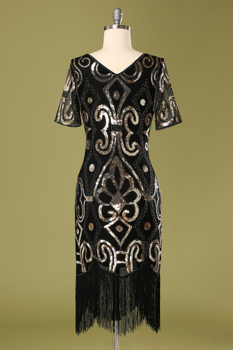 Load image into Gallery viewer, 1920s Black Sequins Flapper Dress