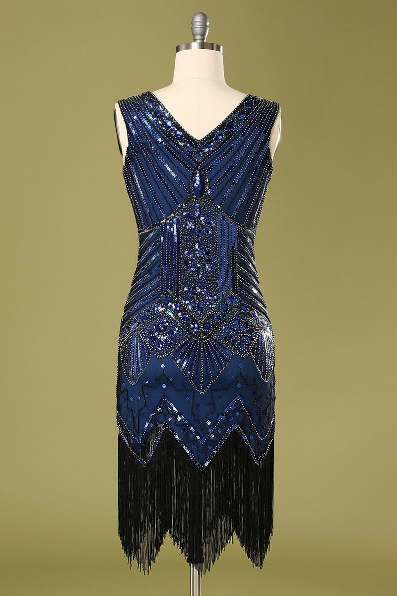 Load image into Gallery viewer, Vintage 1920s Blue Sequins Flapper Dress