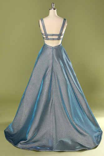 Glitter Blue Open Back Long Prom Dress