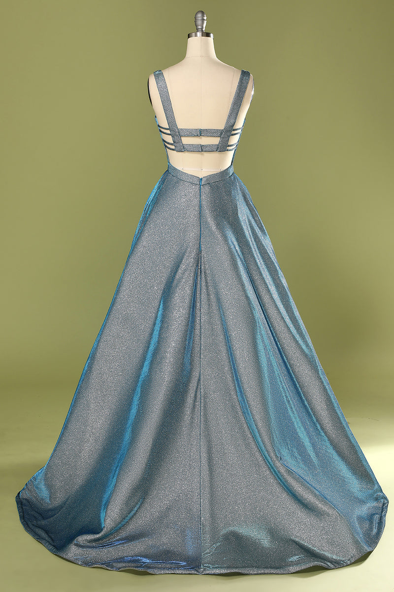 Load image into Gallery viewer, Glitter Blue Open Back Long Prom Dress