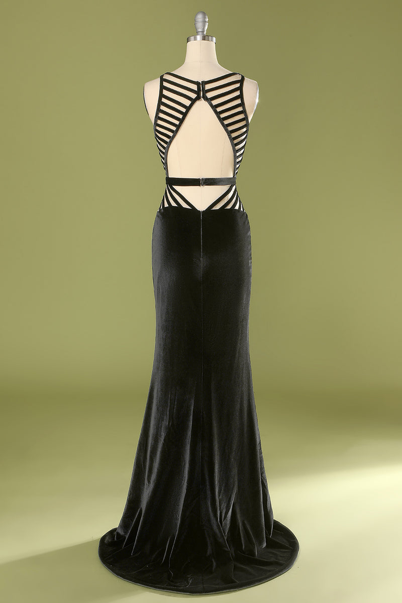 Load image into Gallery viewer, Mermaid Black Deep V Neck Prom Dress