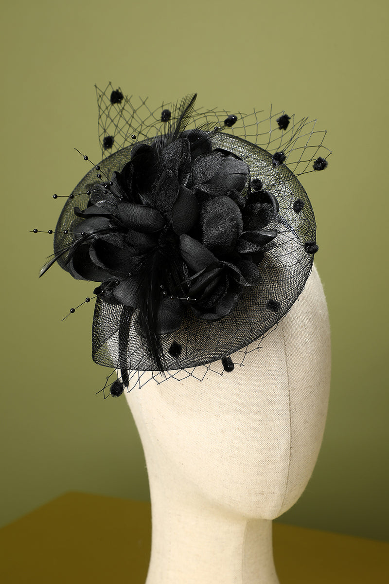 Load image into Gallery viewer, 1920s Black Feather Beaded Headband