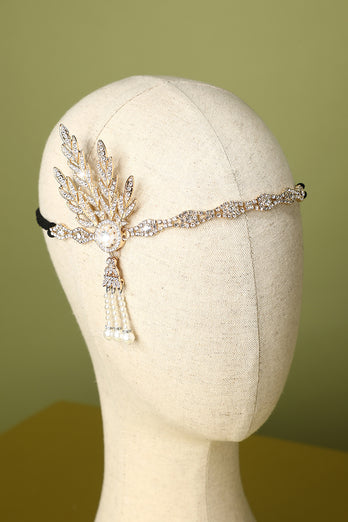 White Beaded Pearls 1920s Flapper Headband