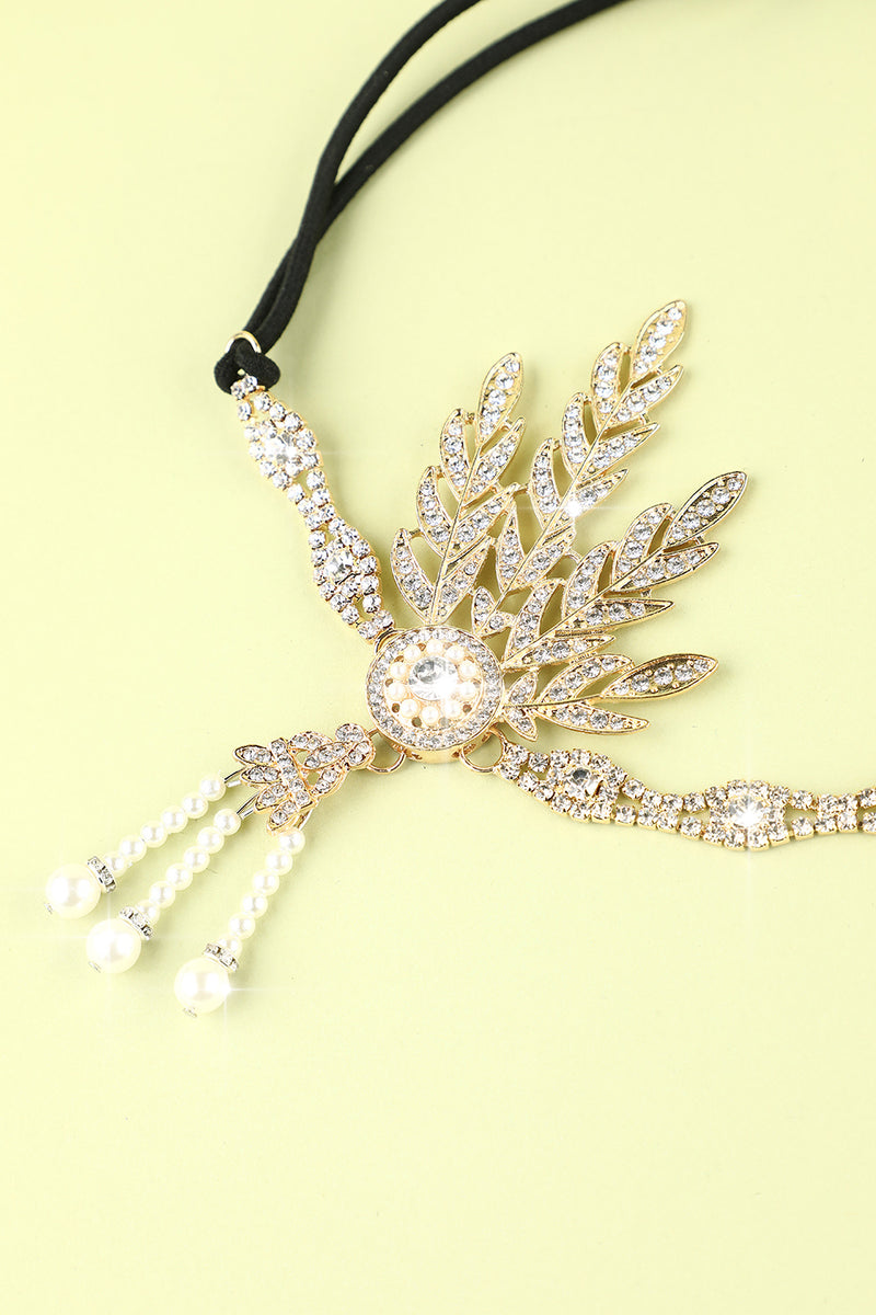 Load image into Gallery viewer, White Beaded Pearls 1920s Flapper Headband