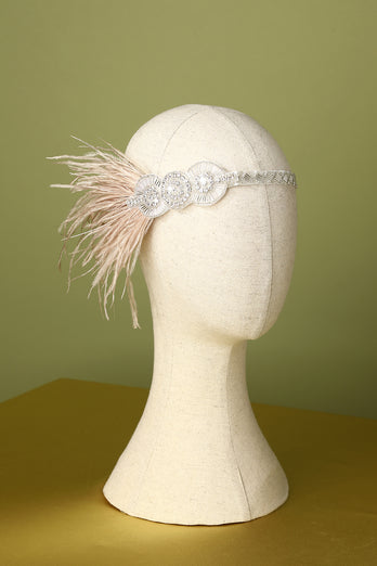 1920s Feather Beaded Flapper Headband