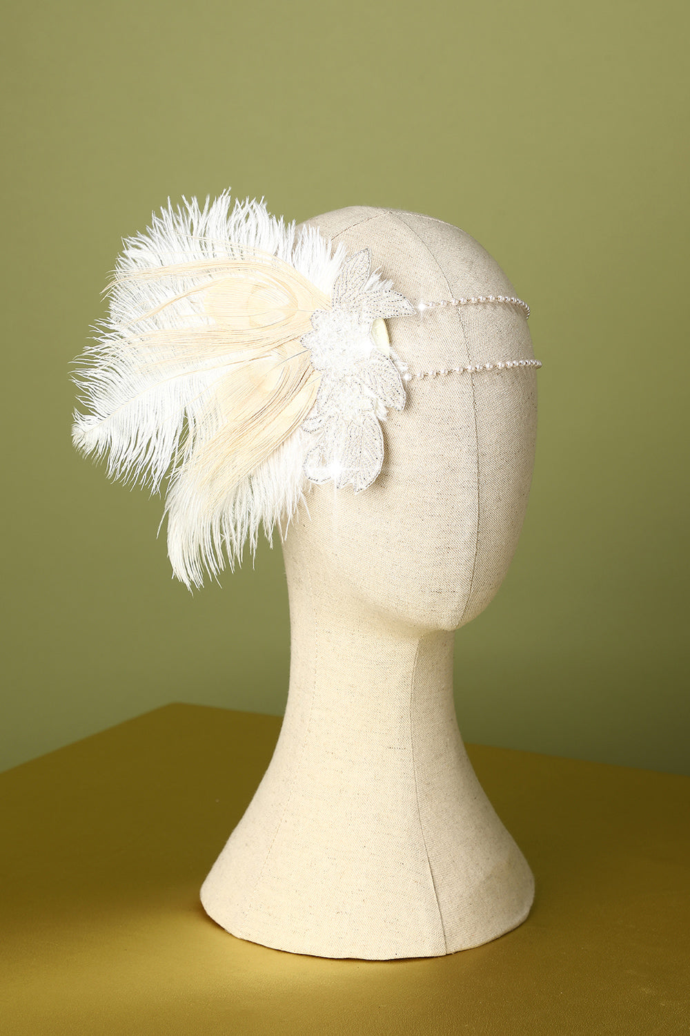 1920s Feather Sequin Pearls Flapper Headband