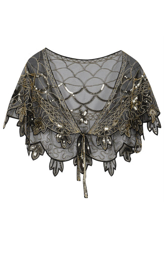 1920s Gold Flower Sequin Women Cape