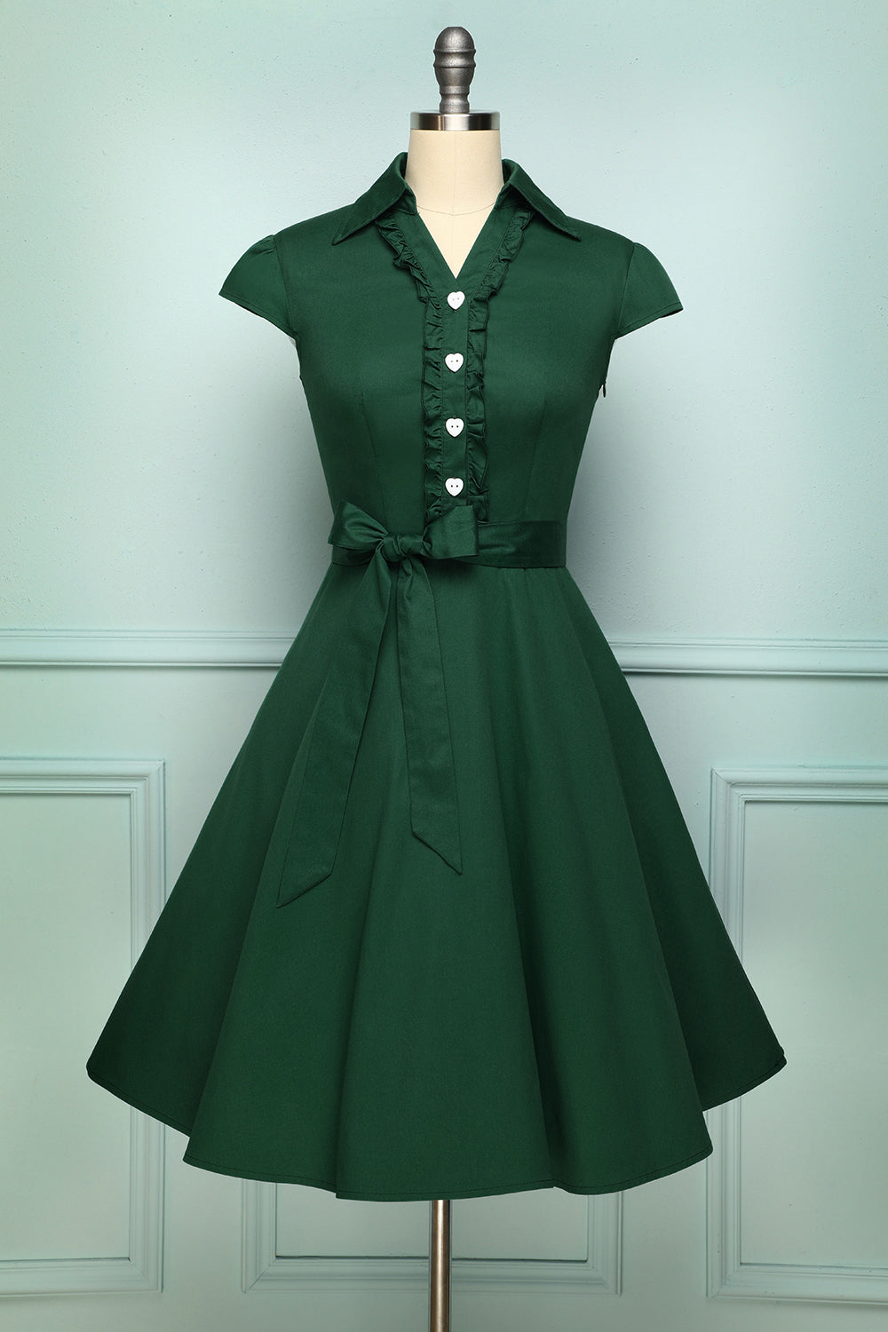 Dark Green 50's Vintage Style Lapel Collar Swing Dress with Heart-Shaped Buttons