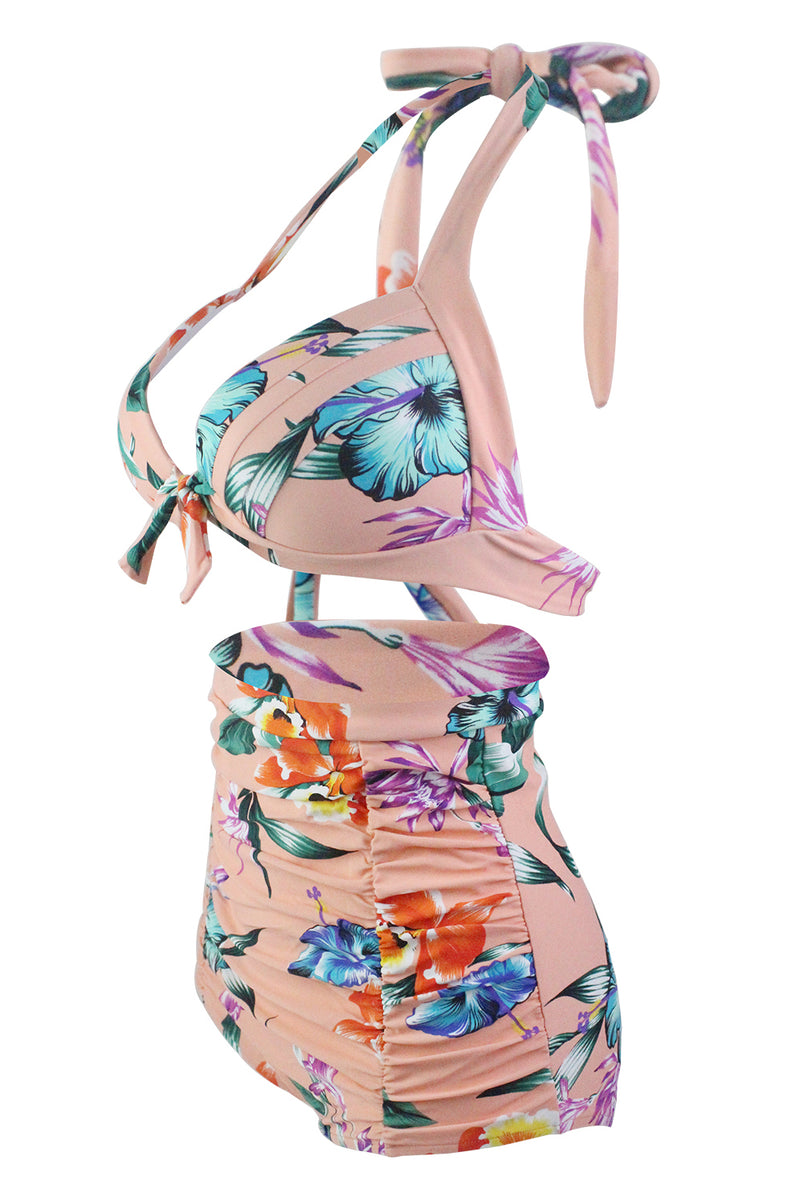 Load image into Gallery viewer, Print Halter High Waist Bikini Swimwear