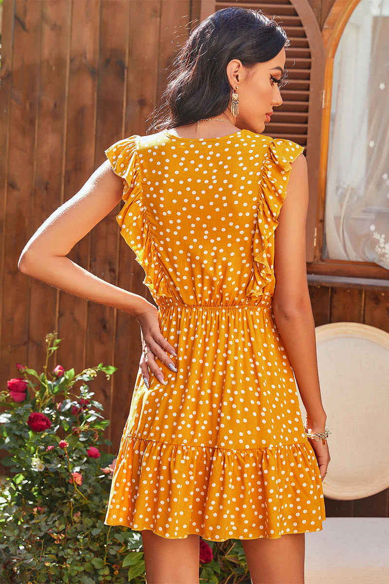 Load image into Gallery viewer, Batwing Sleeves Polka Dots Summer Dress