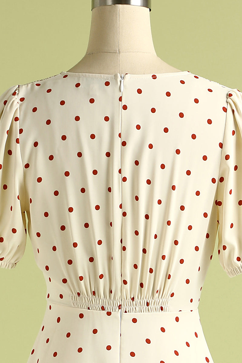 Load image into Gallery viewer, 1950s Polka Dots Ivory Vintage Dress