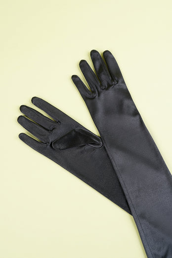 Black 1920s Party Gloves
