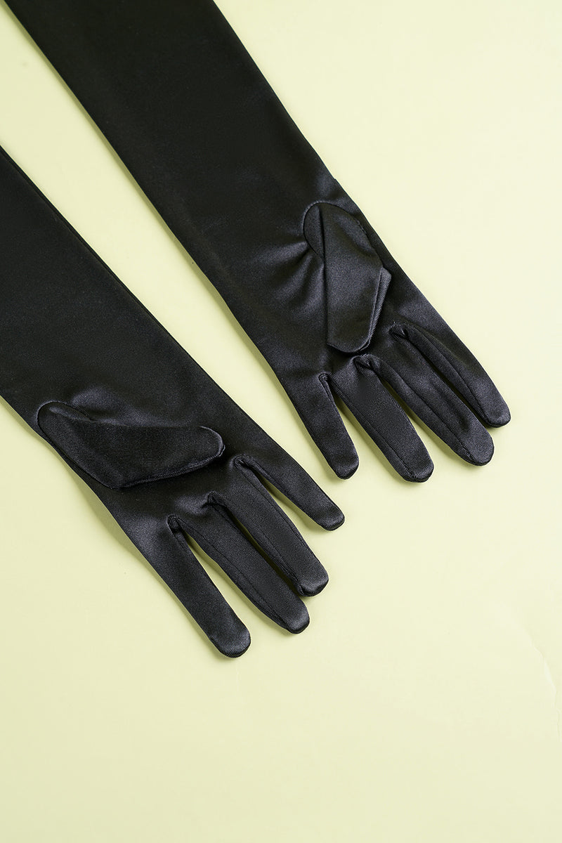Load image into Gallery viewer, Black 1920s Party Gloves