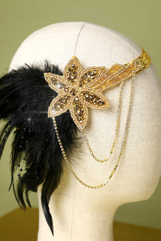 1920s Black and Gold Feather Beaded Headband