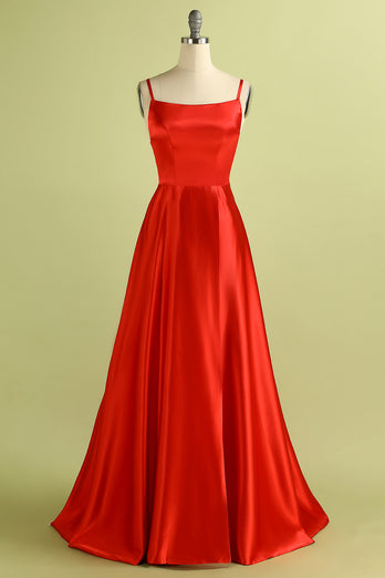 Red Backless Satin Prom Bridesmaid Dress