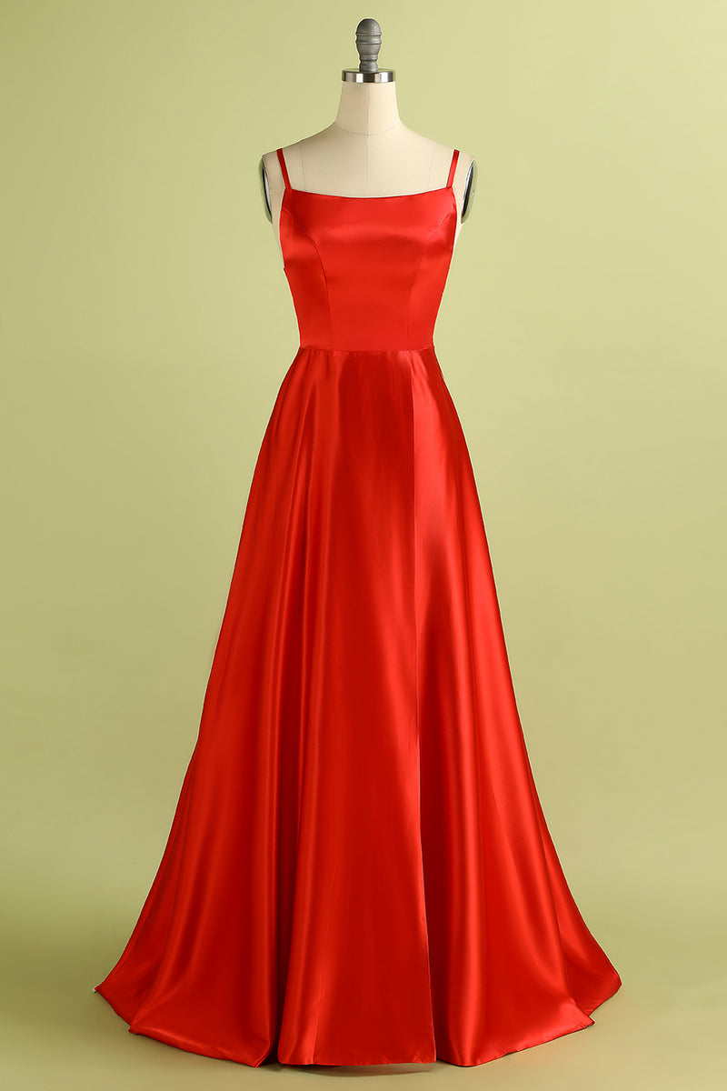 Load image into Gallery viewer, Red Backless Satin Prom Bridesmaid Dress