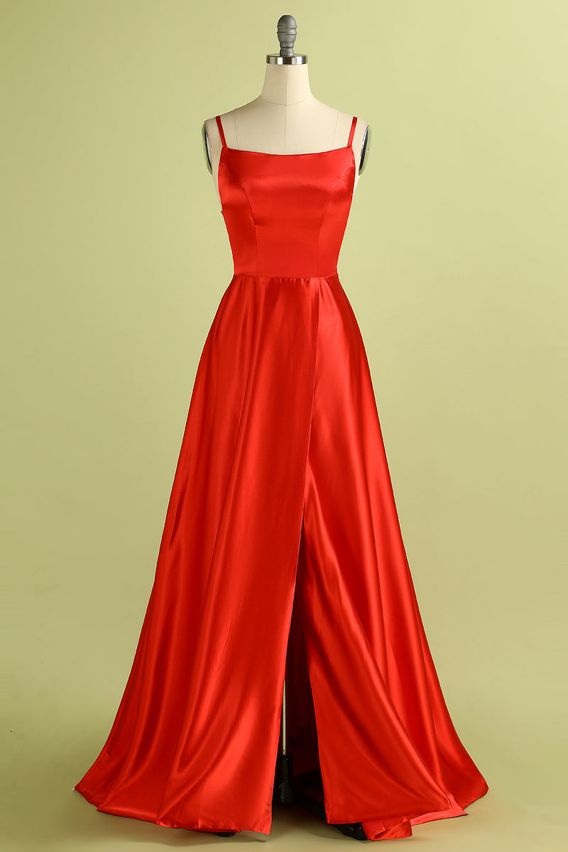 Load image into Gallery viewer, Red Backless Satin Dress