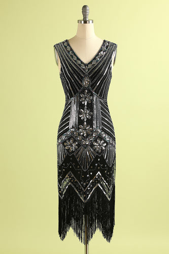 1920s Black Silver Sequins Dress