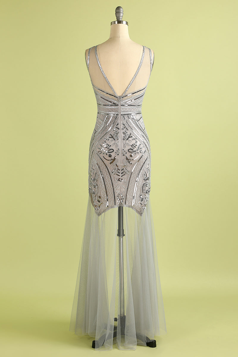 Load image into Gallery viewer, 1920s Sequin Long Tulle Flapper Dress