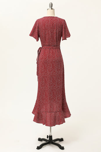 Summer Burgundy Print Wrap Casual Dress