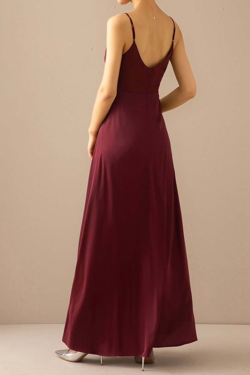 Load image into Gallery viewer, Burgundy Simple Long Bridesmaid Prom Dress