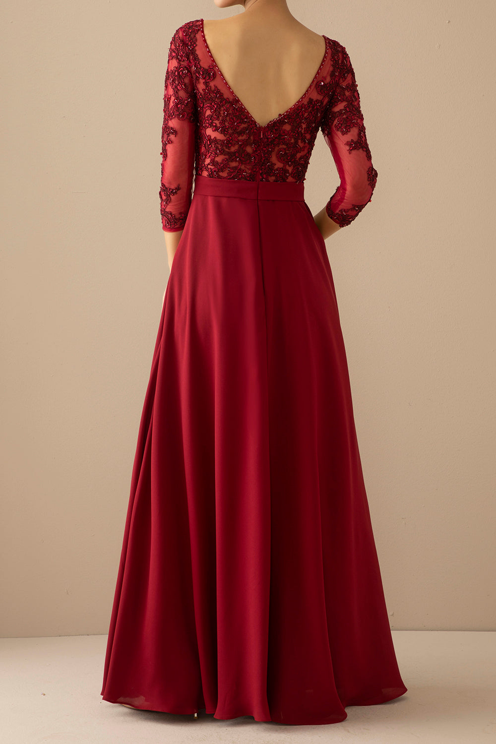 Burgundy Mother of the Bride Dress With Sleeves