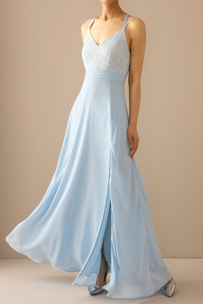 Load image into Gallery viewer, Blue Long Chiffon Open Back Prom Dress