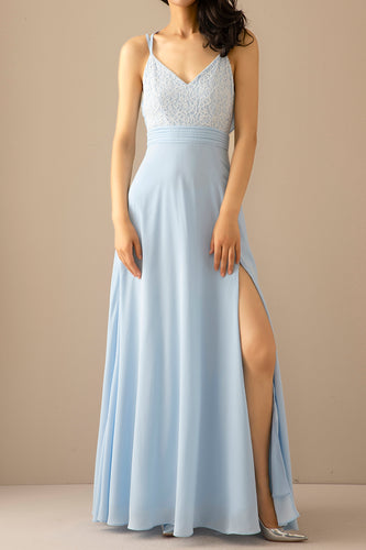 Blue Long Chiffon Open Back Prom Dress